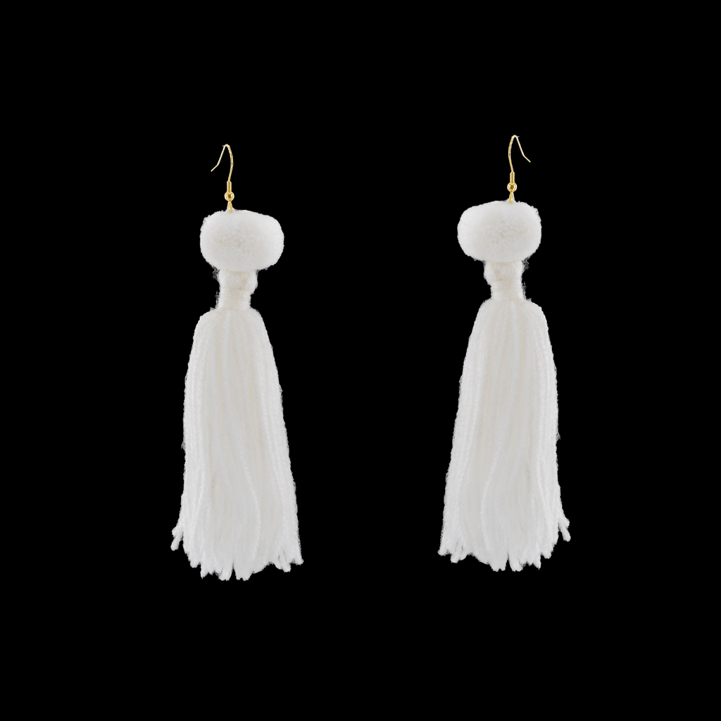 Alexandra Single Pom Tassel Earrings in White - Josephine Alexander Collective