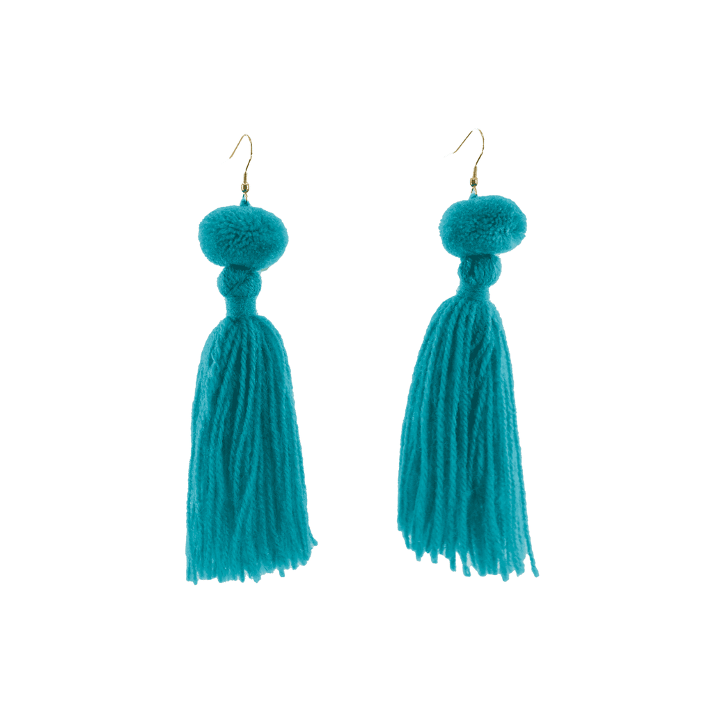 Alexandra Single Pom Tassel Earrings in Turquoise - Josephine Alexander Collective