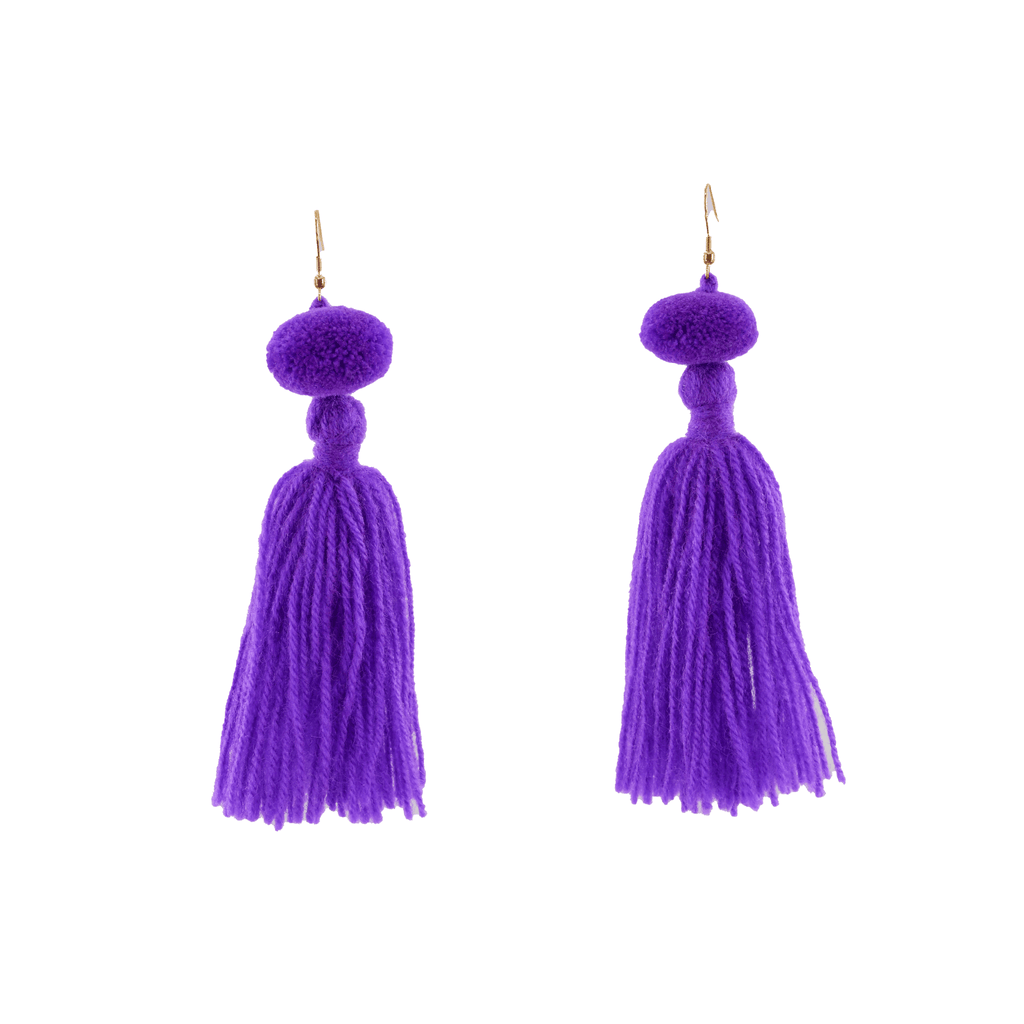 Alexandra Single Pom Tassel Earrings in Ultra Violet - Josephine Alexander Collective