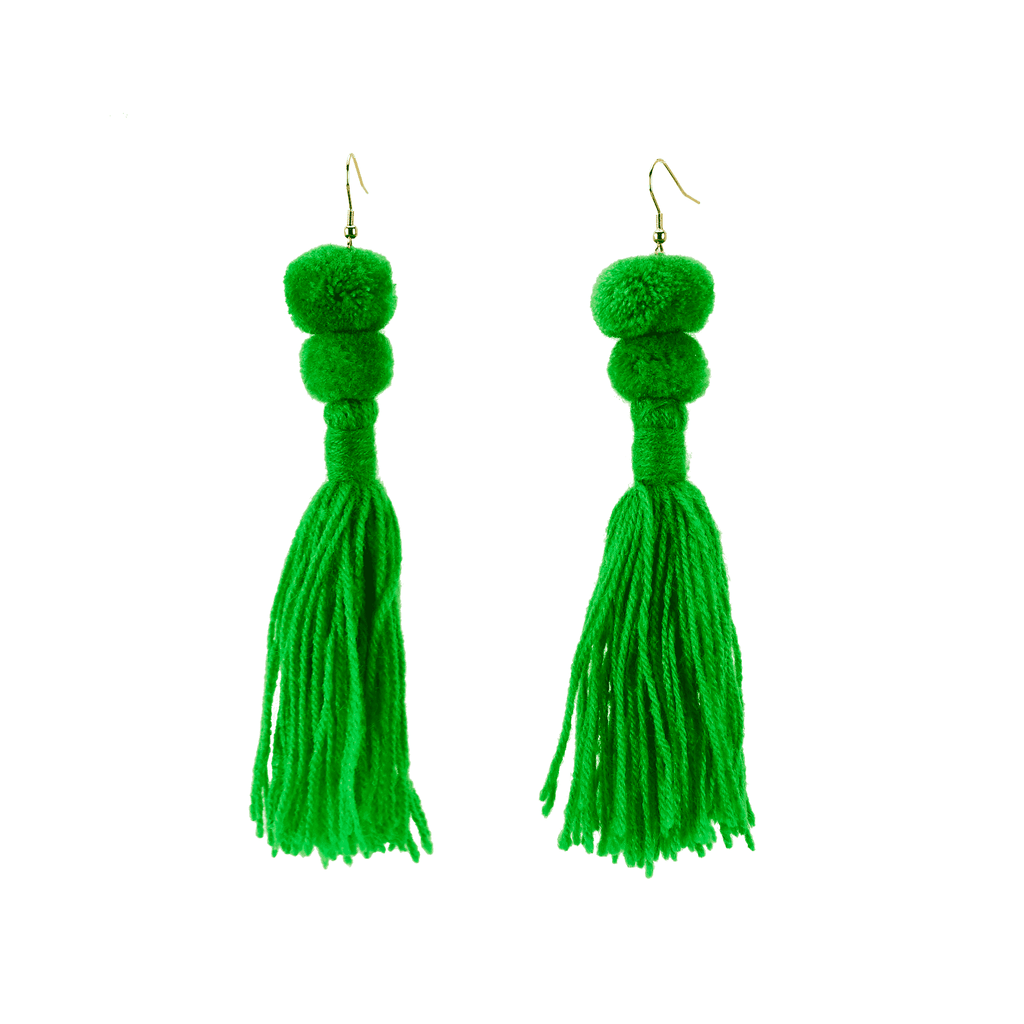 Alexandra Double Pom Tassel Earrings in Kelly Green