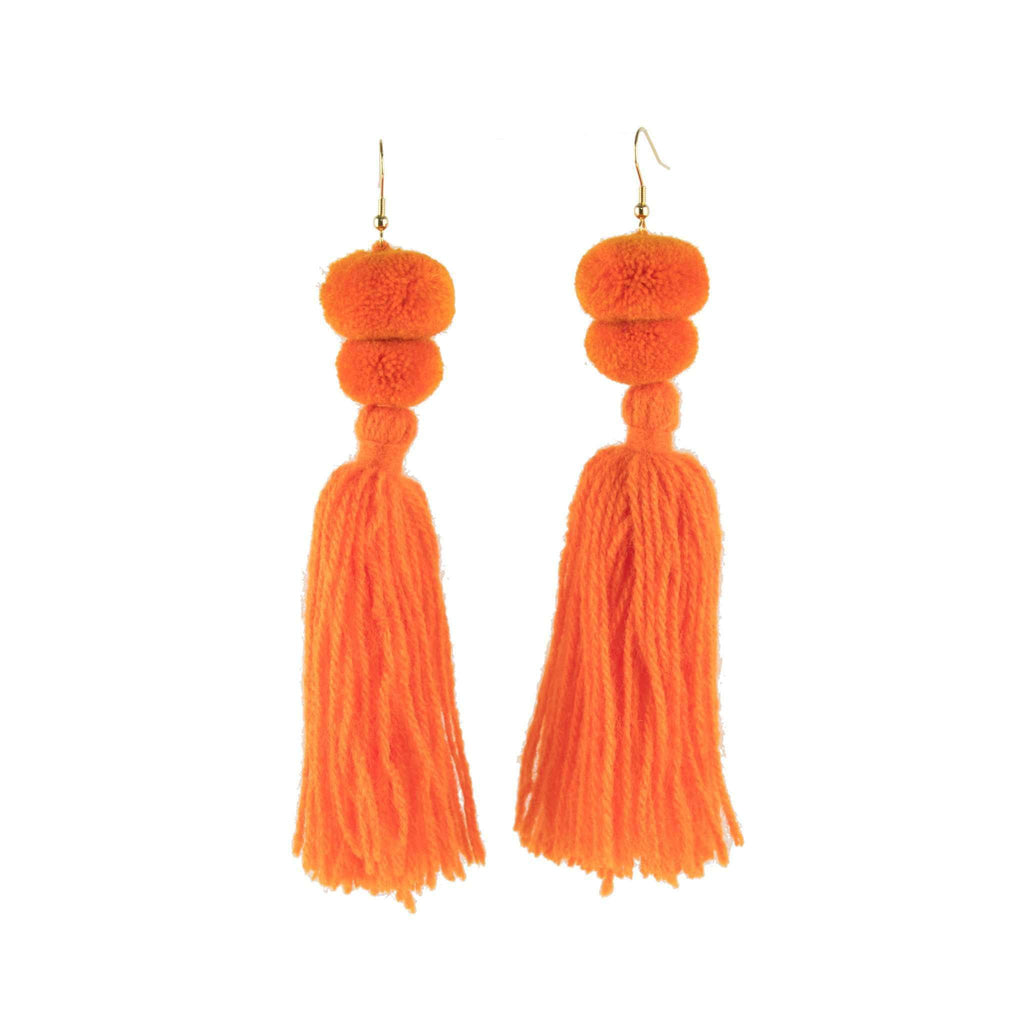 Alexandra Double Pom Tassel Earrings in Mandarin