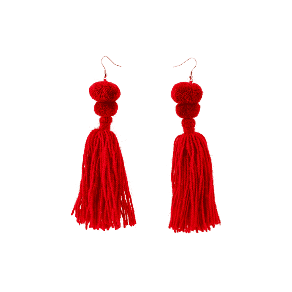 Alexandra Double Pom Tassel Earrings in Cherry