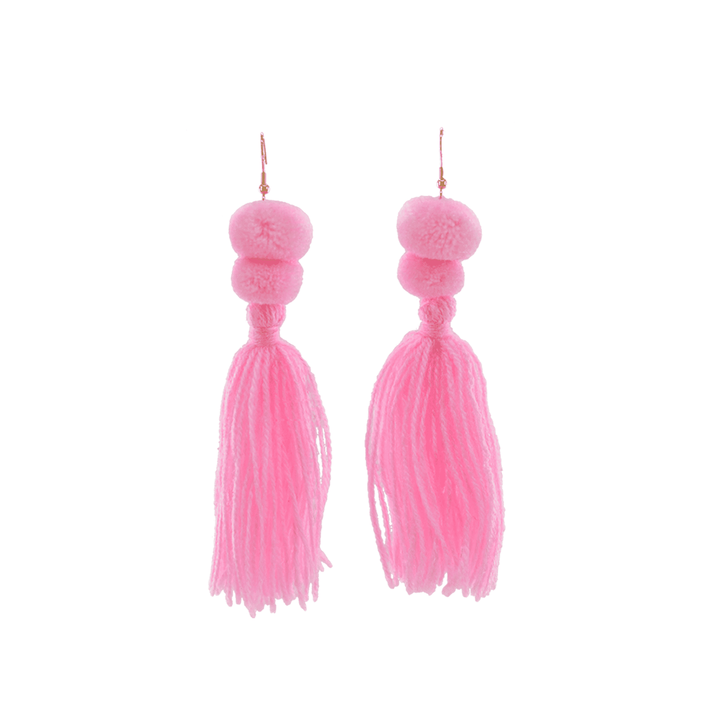 Alexandra Double Pom Tassel Earrings in Millenial Pink