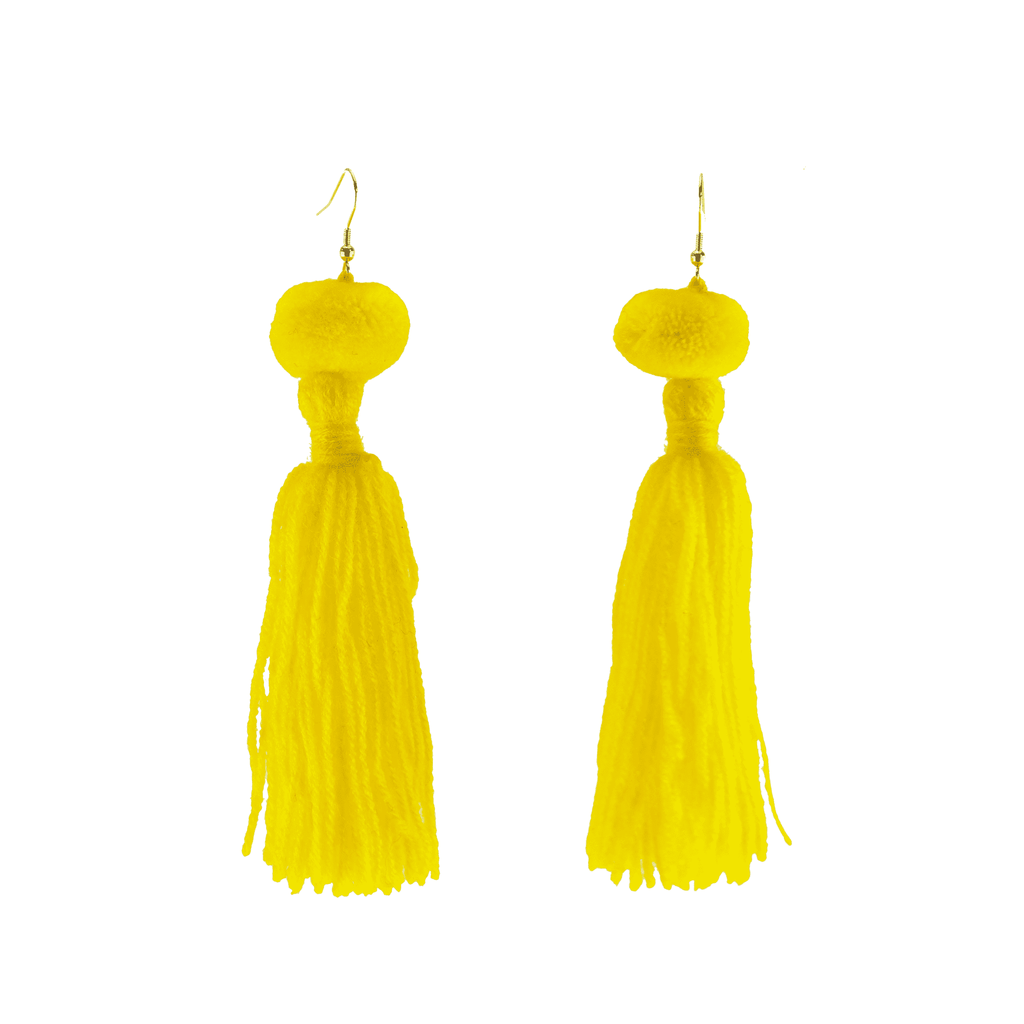 Alexandra Single Pom Tassel Earrings in Sunshine
