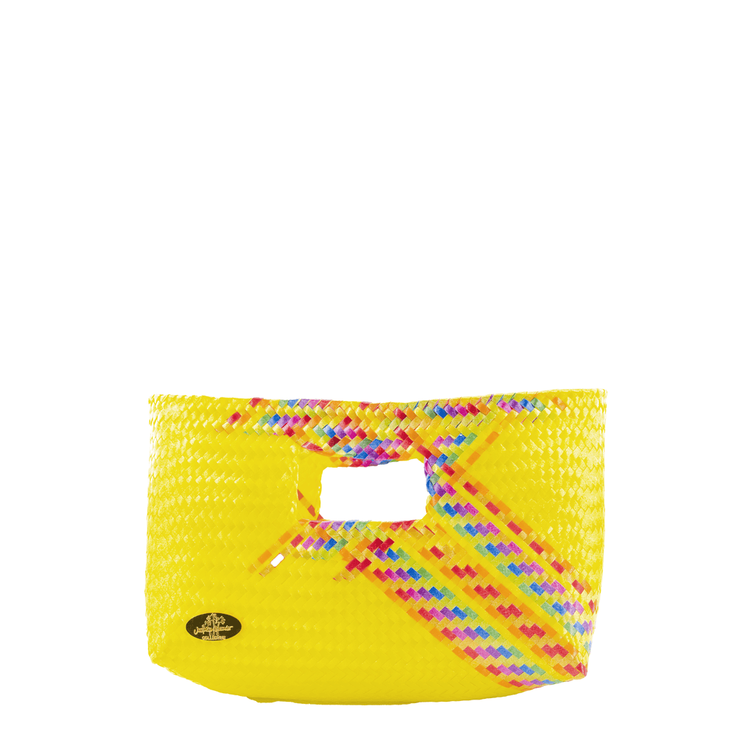 Alison Woven Clutch in Yellow Splash of Rainbow - Josephine Alexander Collective