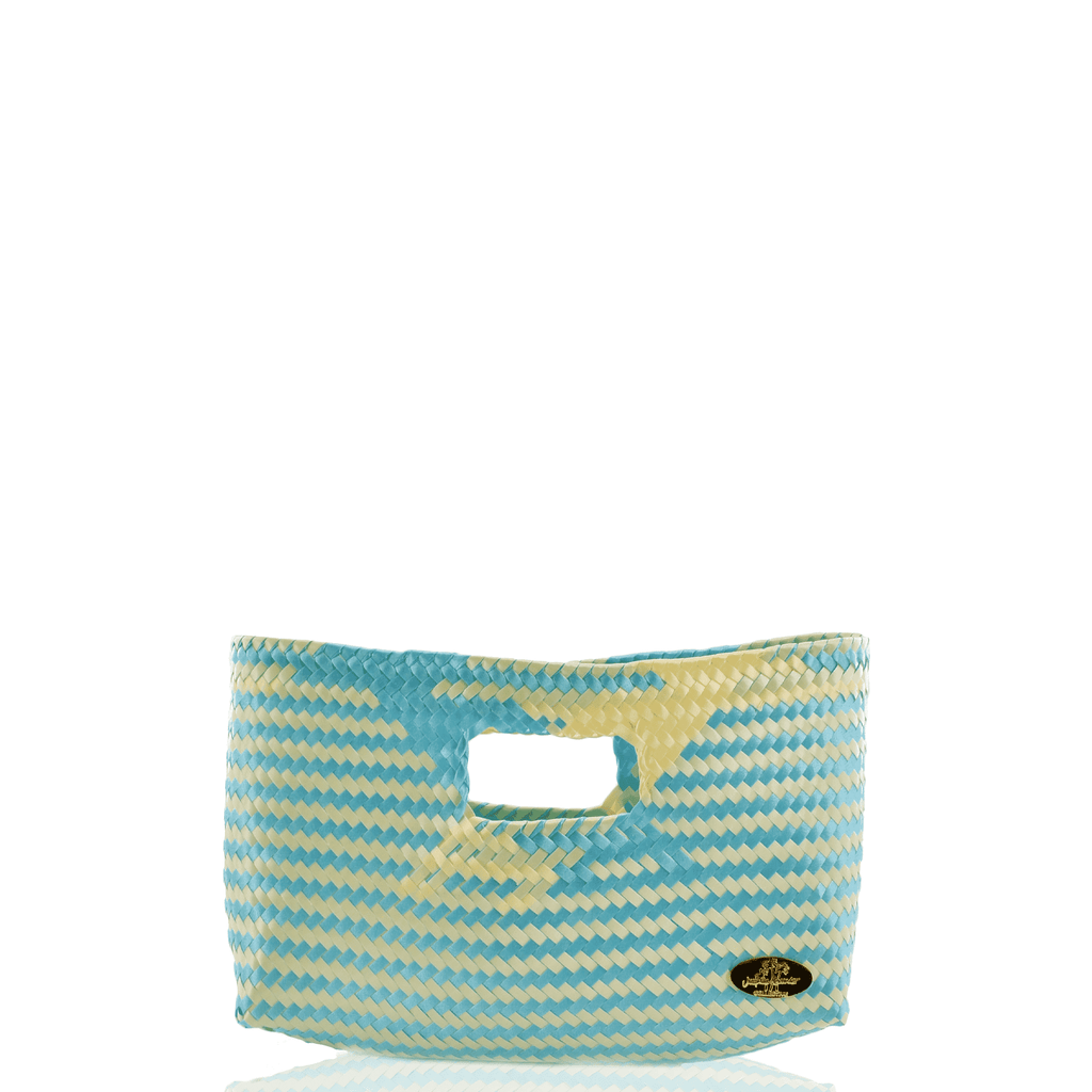 Alison Woven Clutch in Aqua and Ivory
