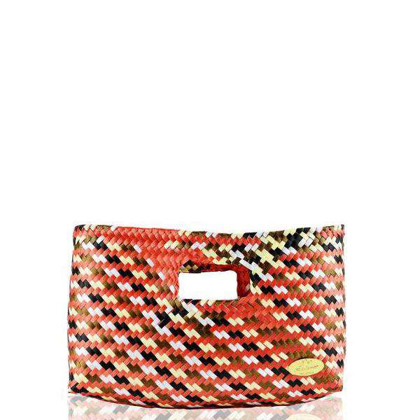 Alison Woven Clutch in Orange Check