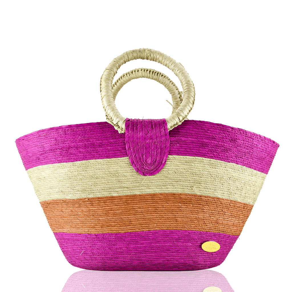 Alma Straw Bucket Bag in Pink