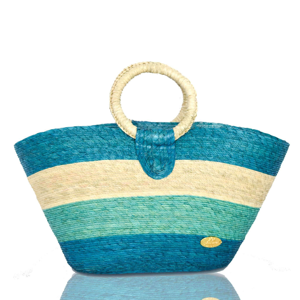 Alma Straw Bucket Bag in Azures