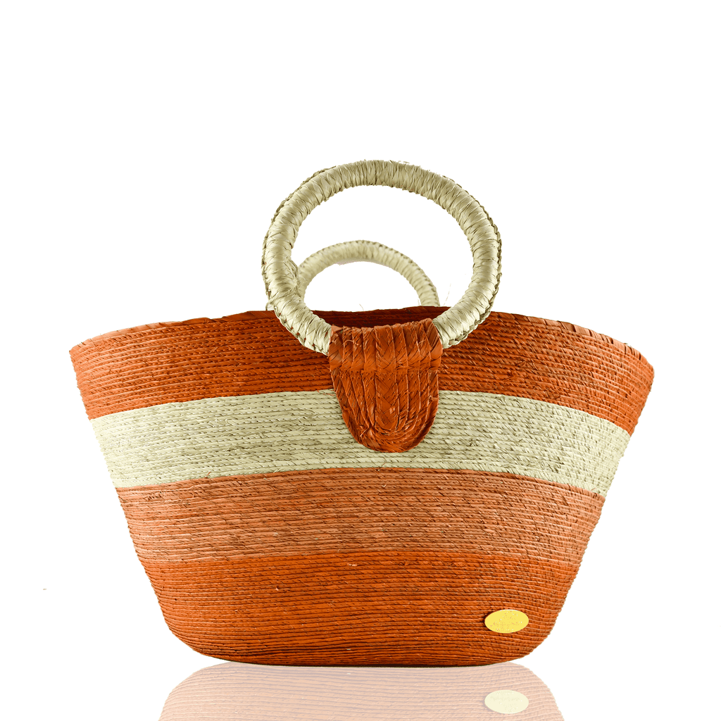 Alma Straw Bucket Bag in Mandarin