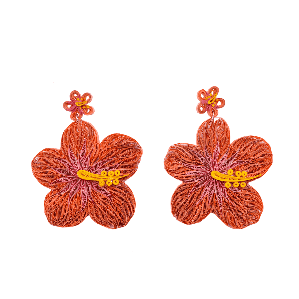 Aloha Earrings in Coral