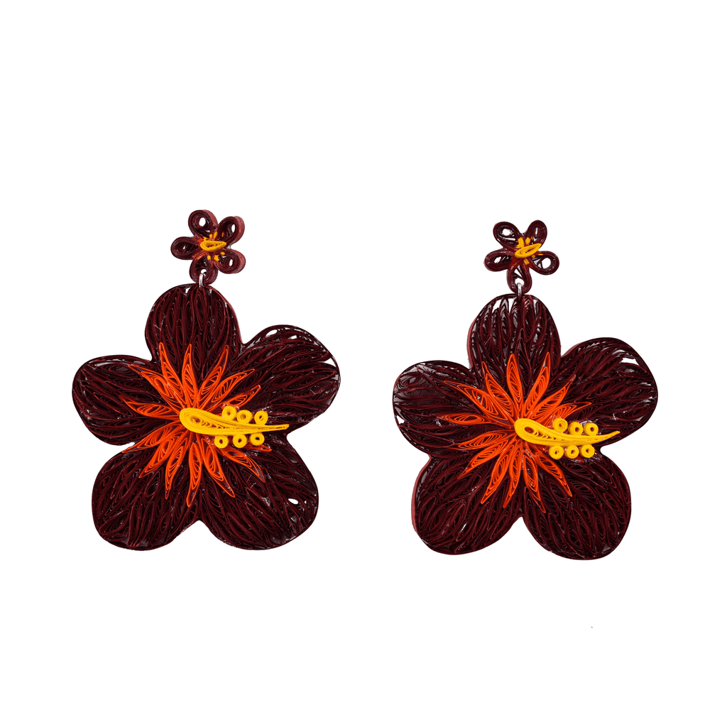 Aloha Earrings in Sangria