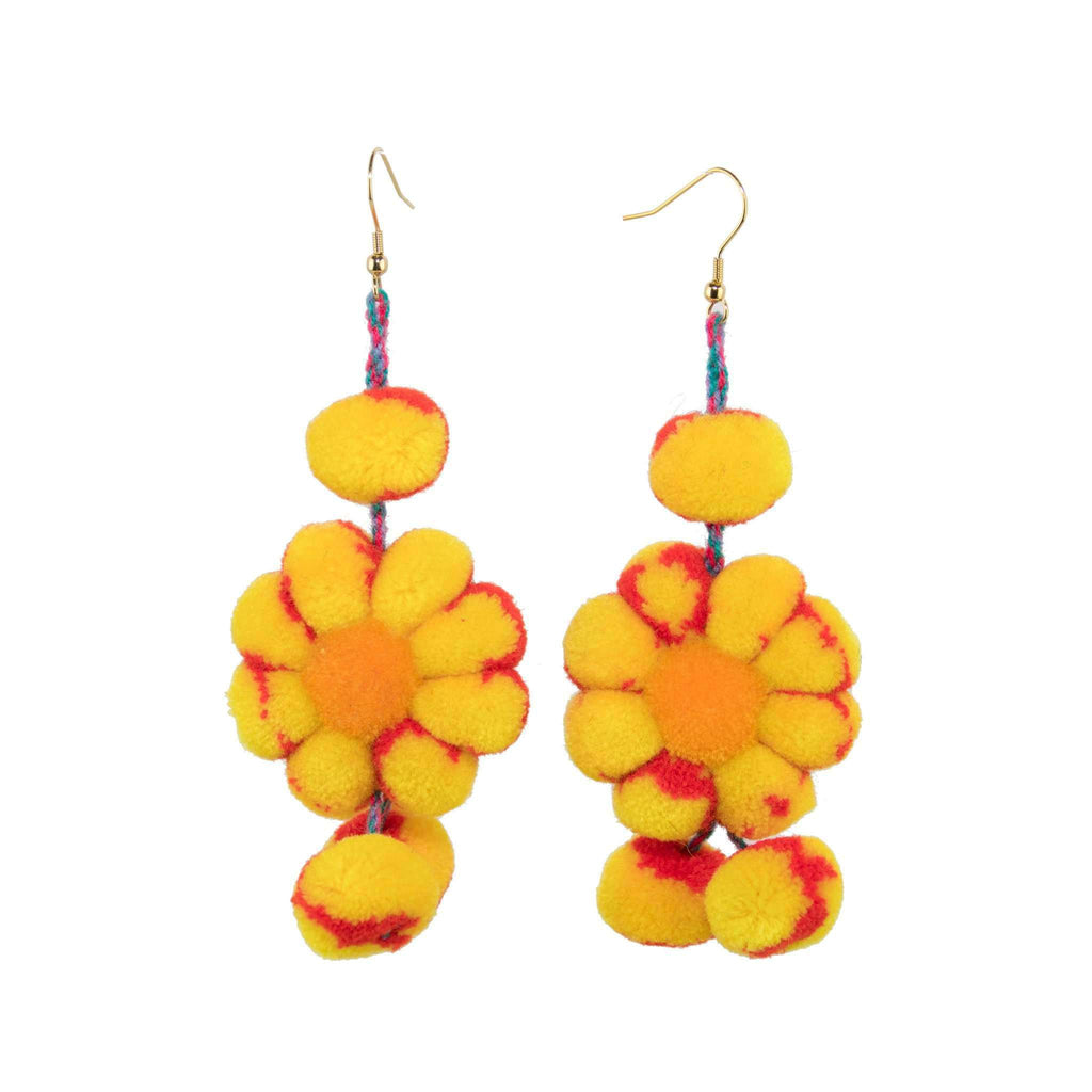 Pom Flower Earrings in Autumn - Josephine Alexander Collective