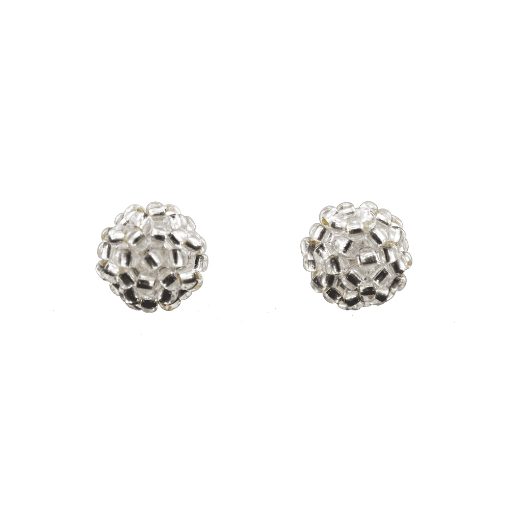 Ball Stud Earrings in Clear Silver