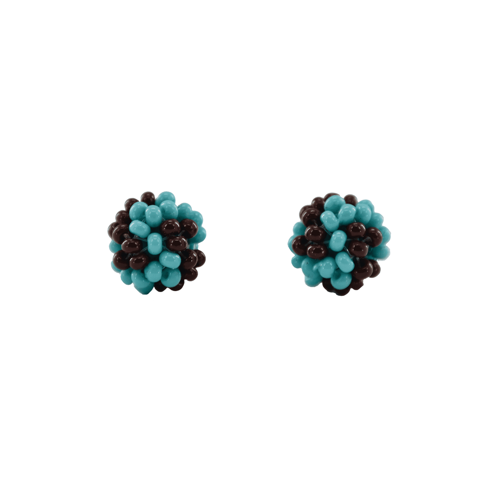 Ball Stud Earrings in Turquoise and Merlot