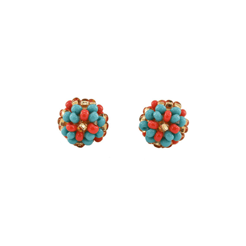 Ball Stud Earrings in Coral and Turquoise - Josephine Alexander Collective