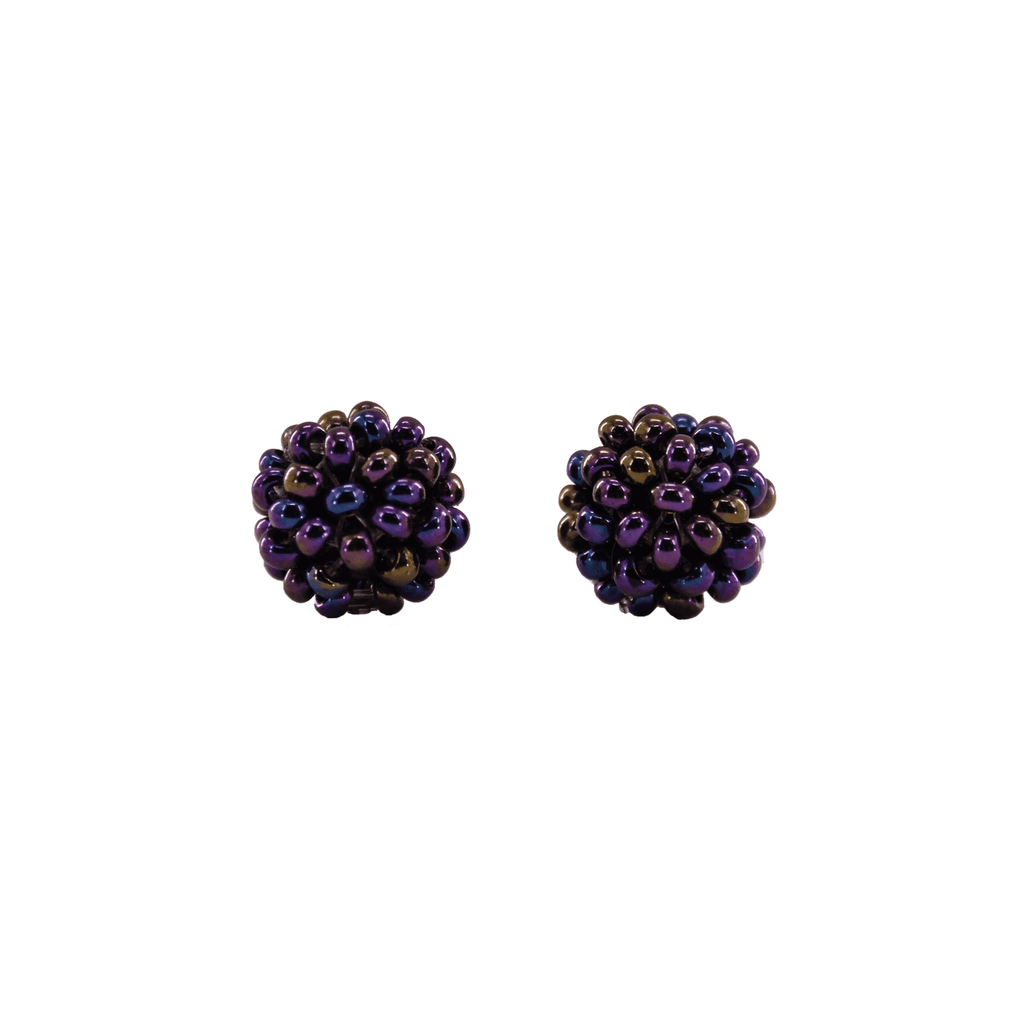 Ball Stud Earrings in Grape