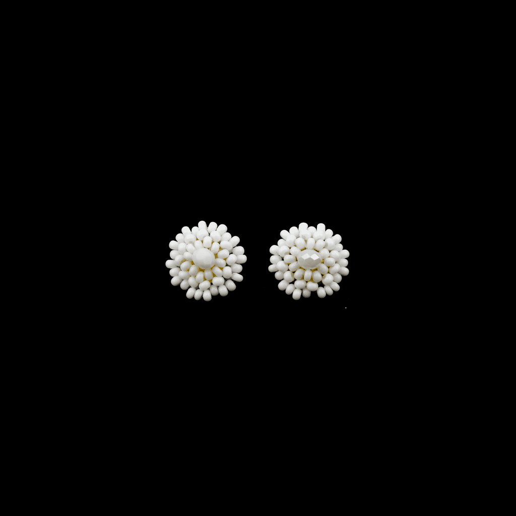 Beaded Stud Earrings in White