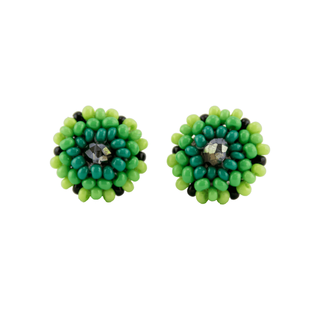 Beaded Stud Earrings in Lime - Josephine Alexander Collective