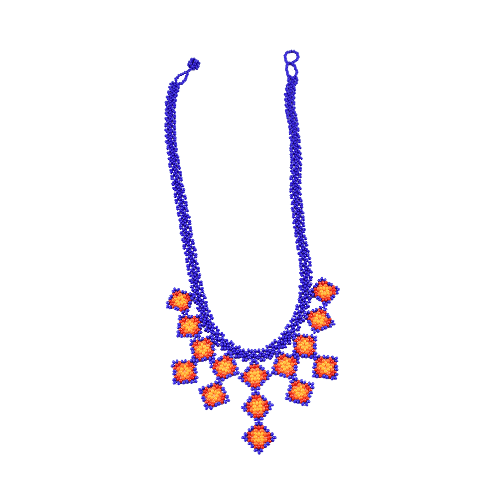 Beaded Tile Necklace in Blue and Orange