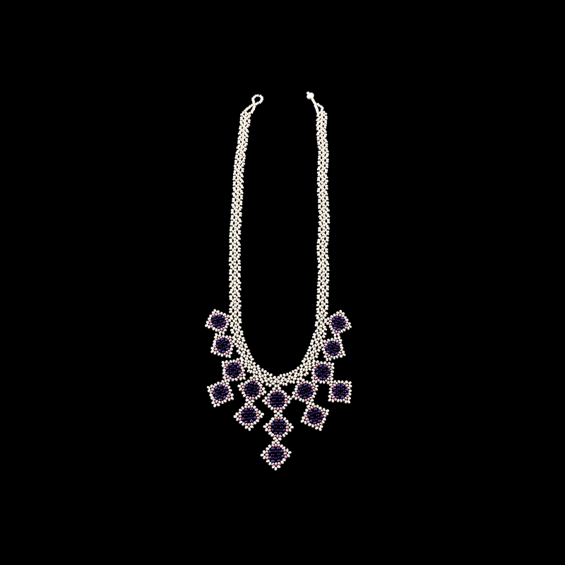 Beaded Tile Necklace in Ivory and Lilac