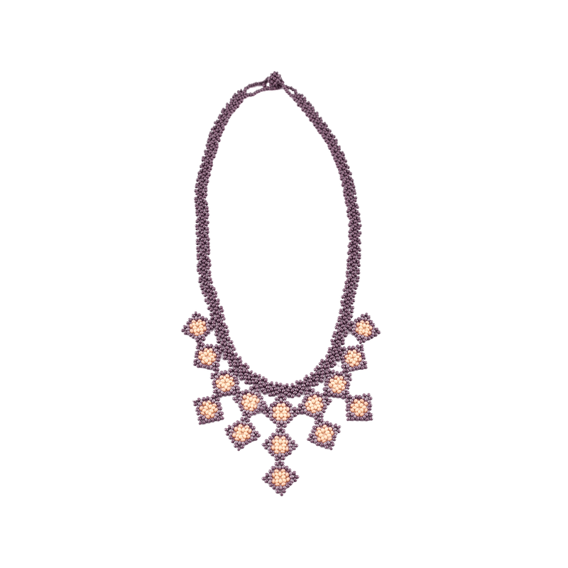 Beaded Tile Necklace in Lilac
