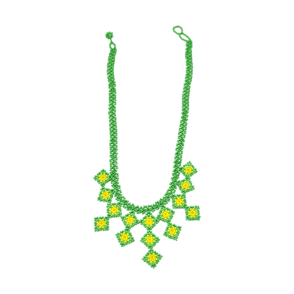 Beaded Tile Necklace in Lime