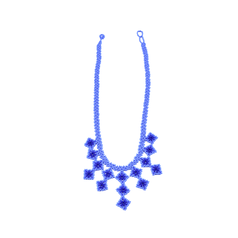 Beaded Tile Necklace in Shades of Blue