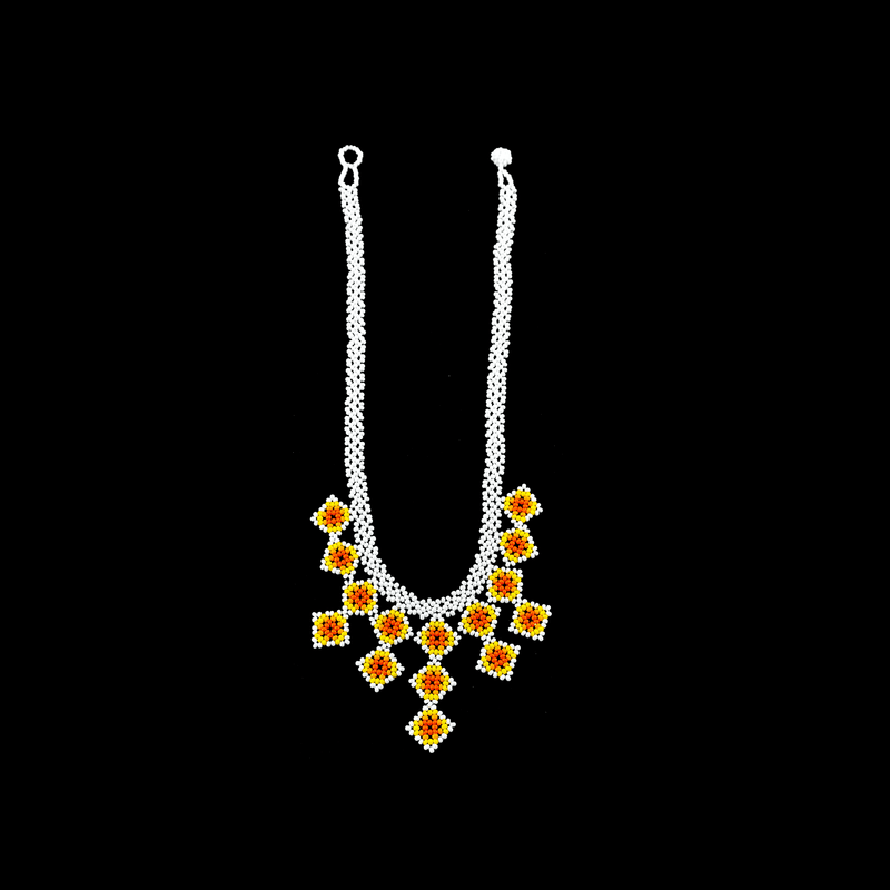 Beaded Tile Necklace in White and Yellow