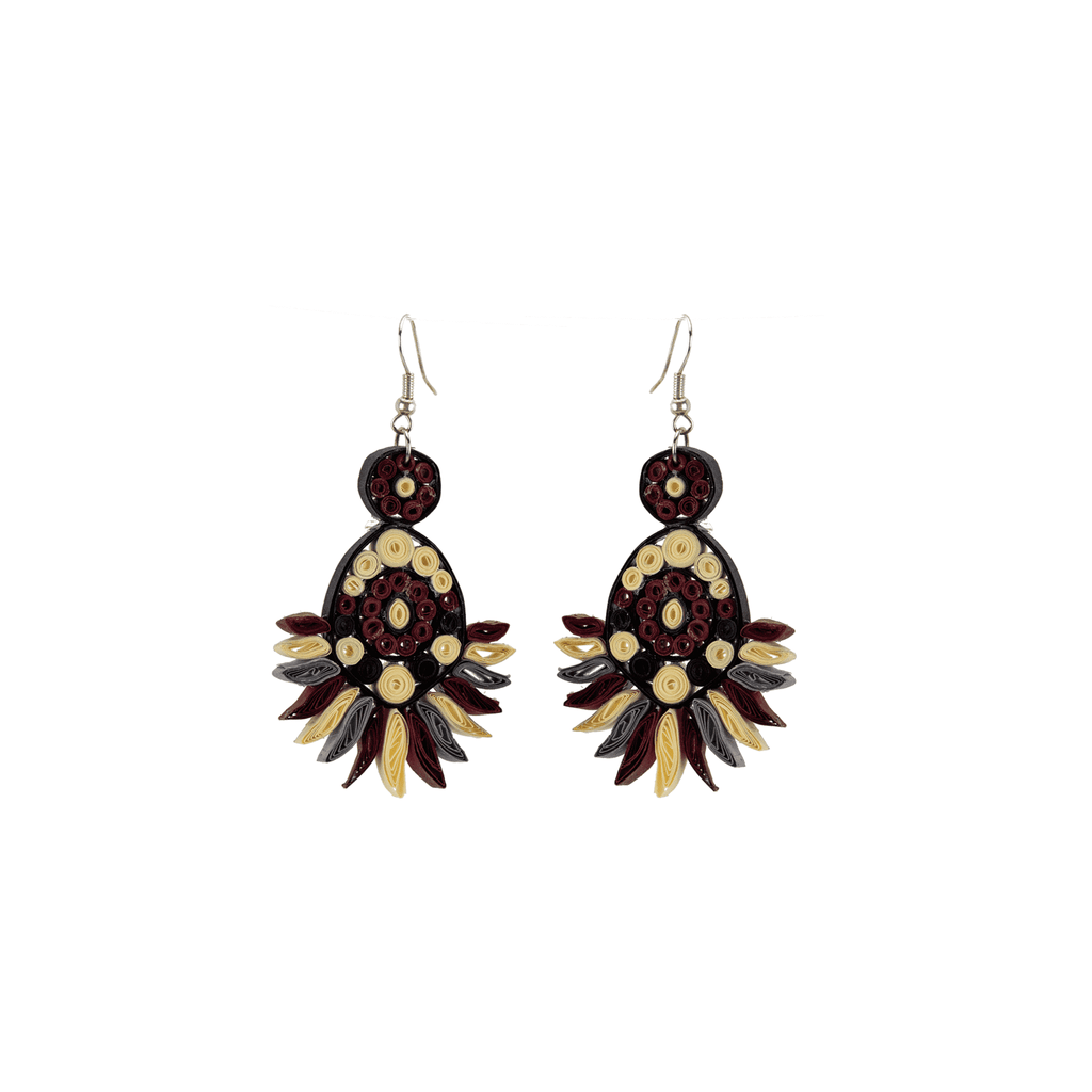 Beth Quilled Earrings in Garnet - Josephine Alexander Collective