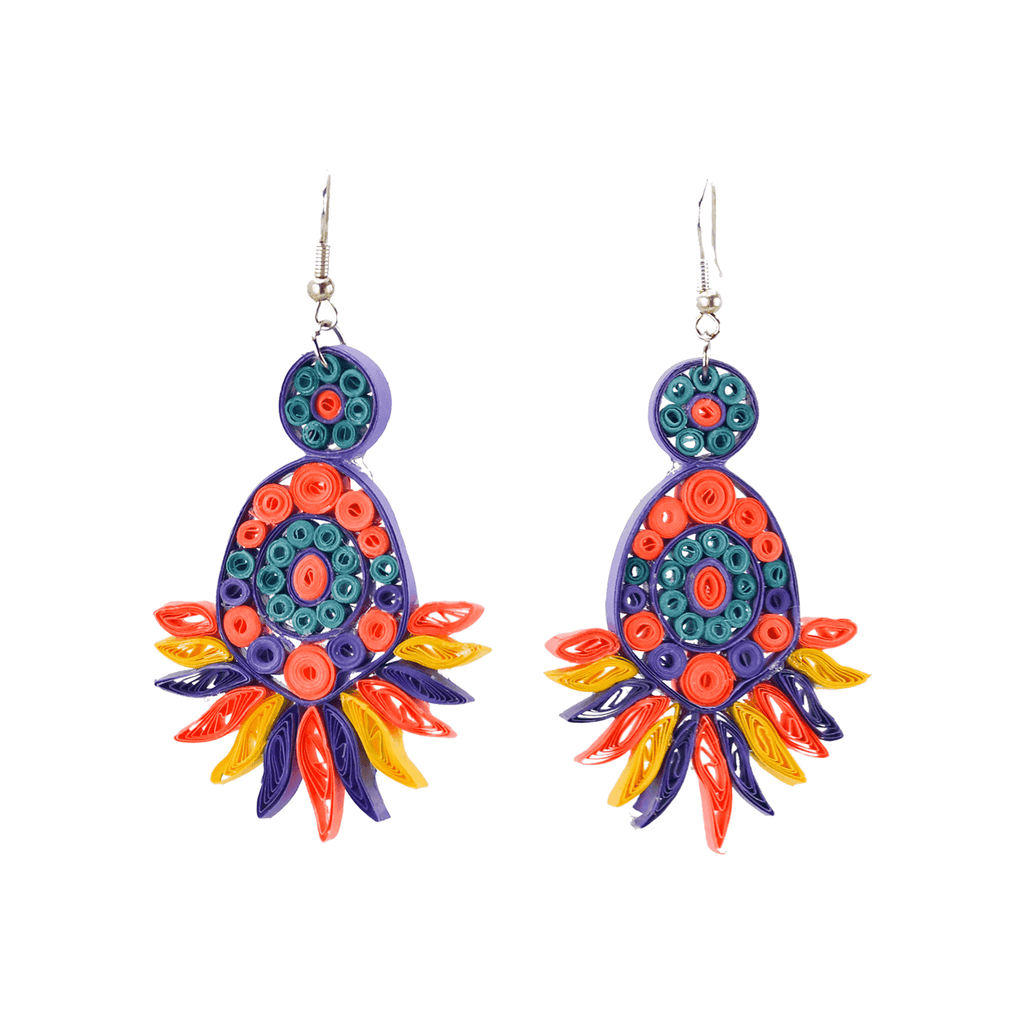 Beth Quilled Earrings in Fiesta