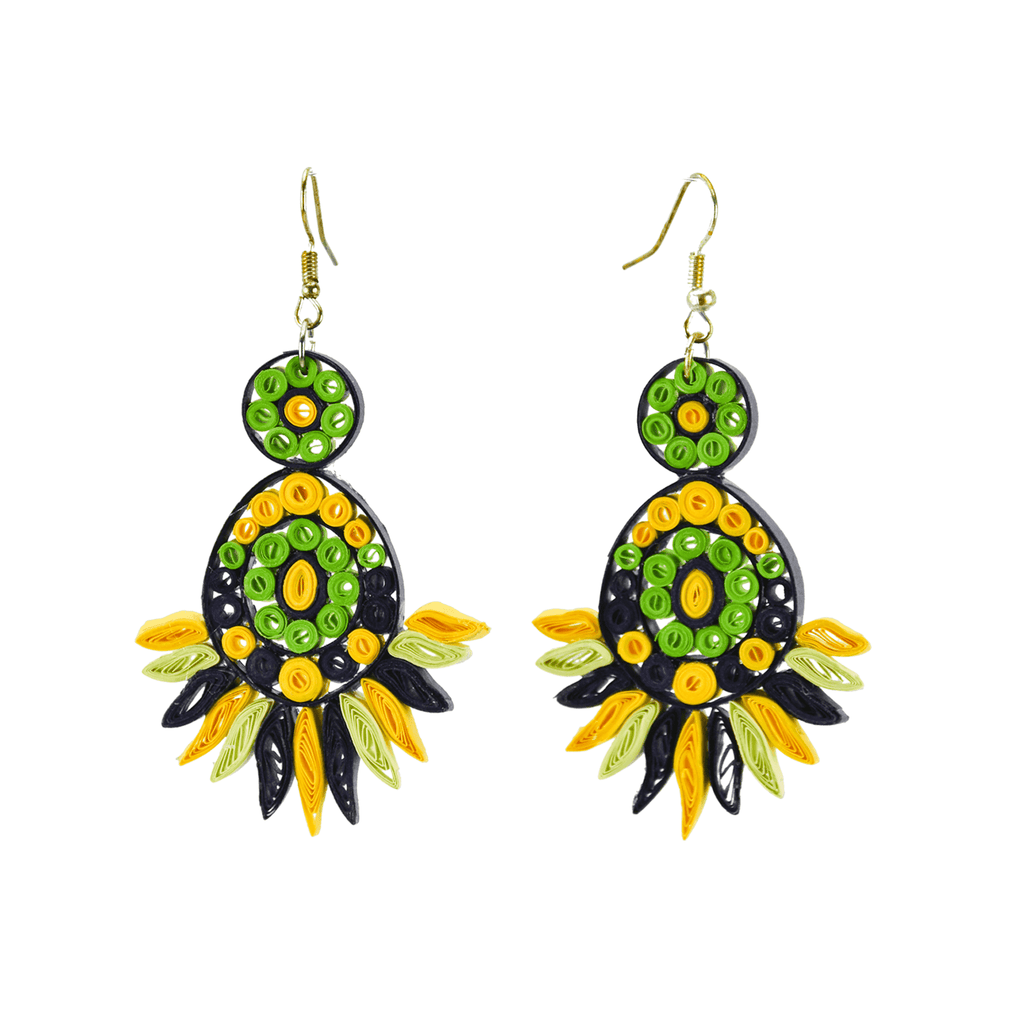 Beth Quilled Earrings in Green Mango - Josephine Alexander Collective