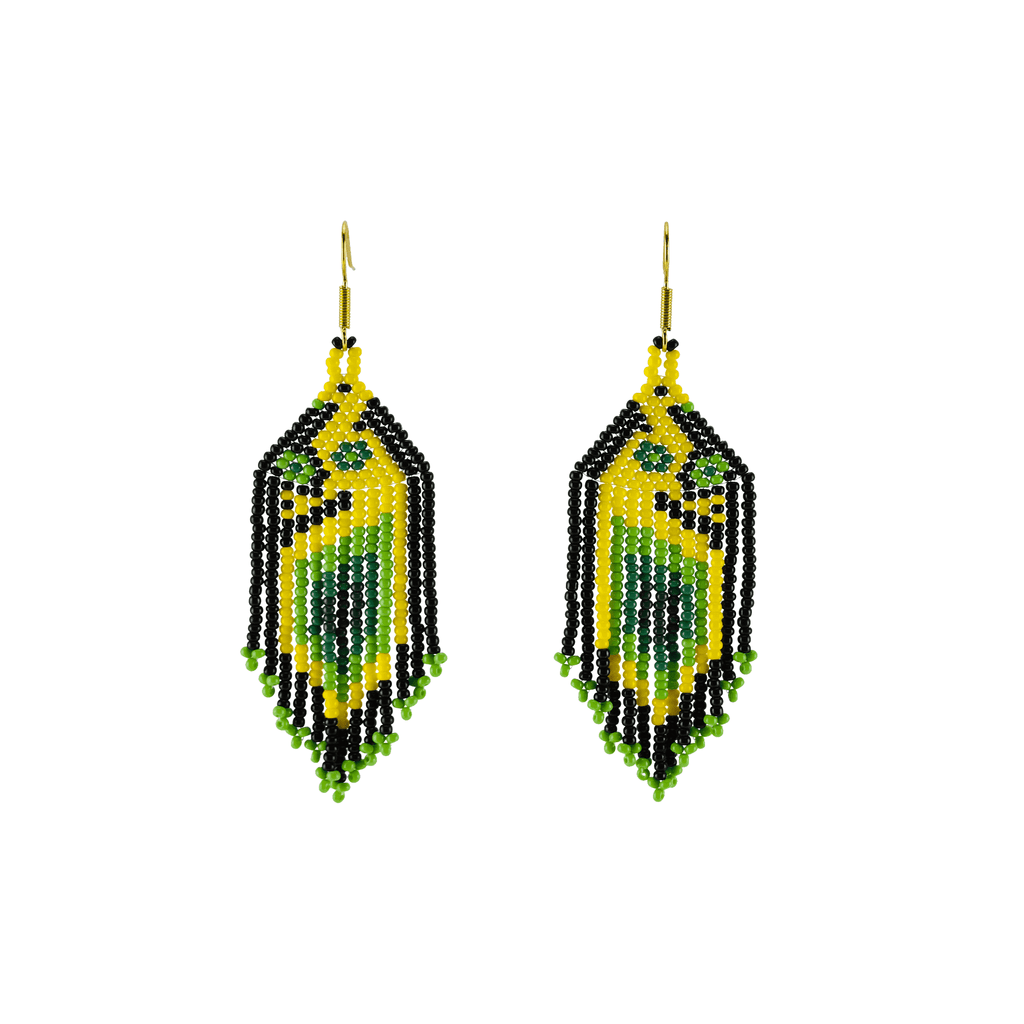 Bird of Paradise Earrings in Green Mango