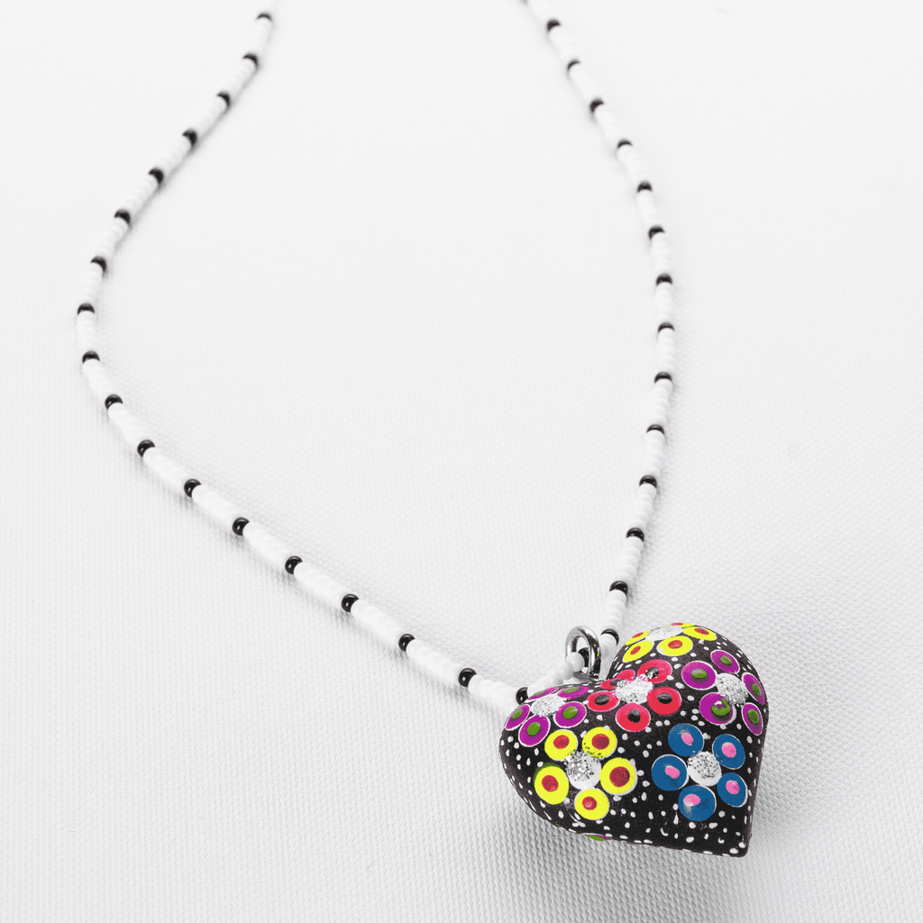 Black Heart Beaded Necklace - Josephine Alexander Collective
