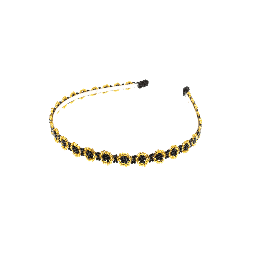 Black And Gold Beaded Headband - Josephine Alexander Collective