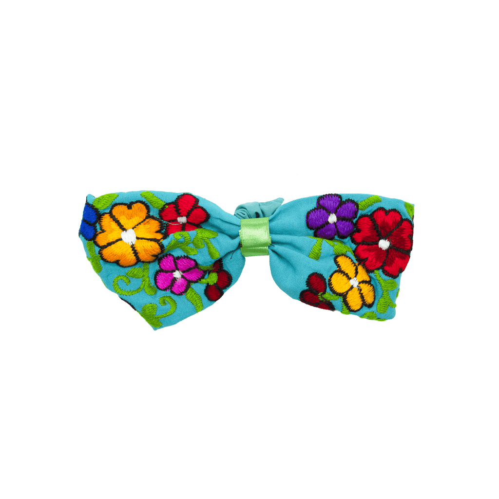 Bow Headband Blue Flowers