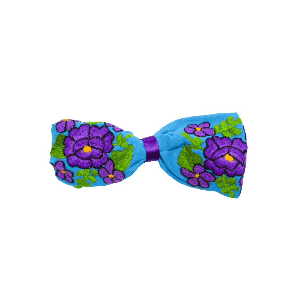 Bow Headband Blue Purple Flowers - Josephine Alexander Collective
