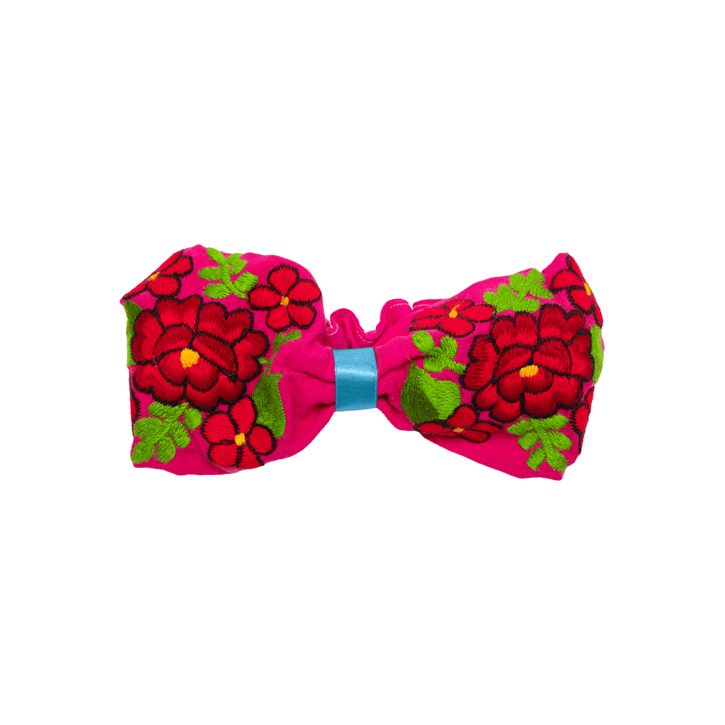 Bow Headband Pink Red Flowers - Josephine Alexander Collective