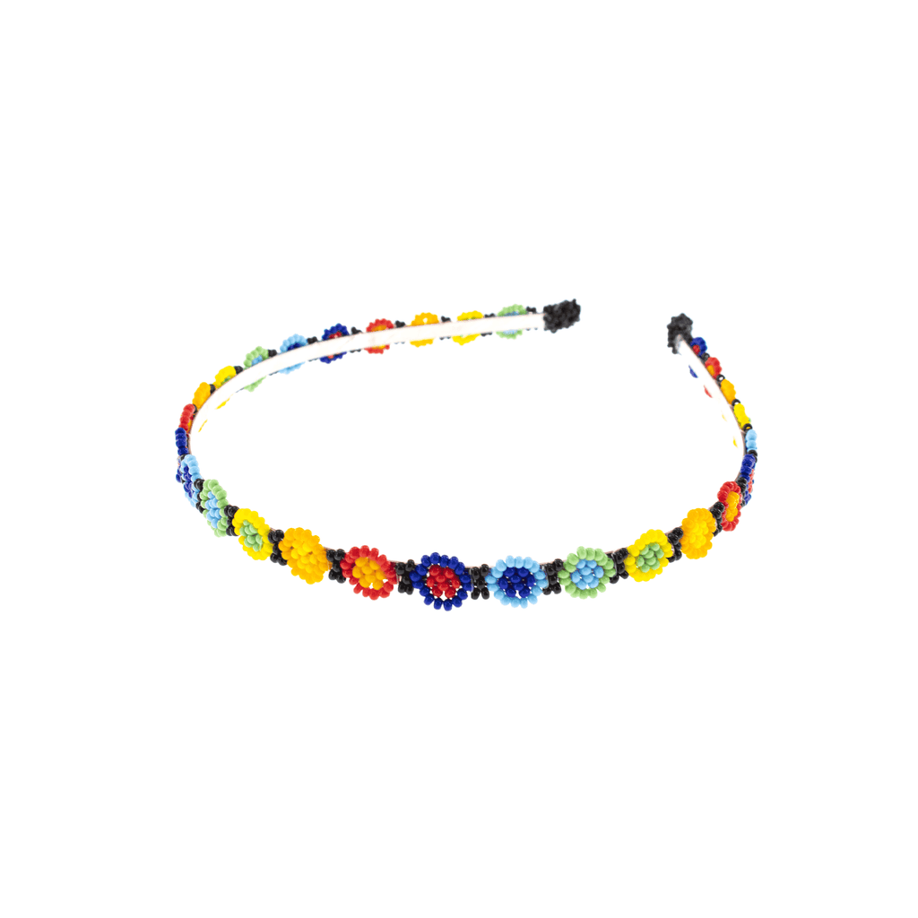 Bright Rainbow Flower Beaded Headband - Josephine Alexander Collective
