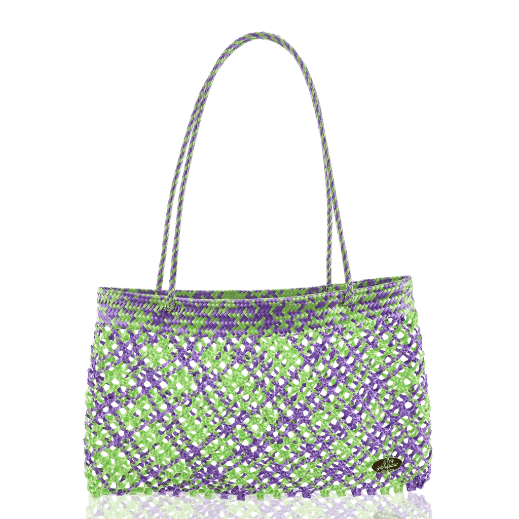 Calada Woven Mesh Bag- Multi Green and Violet