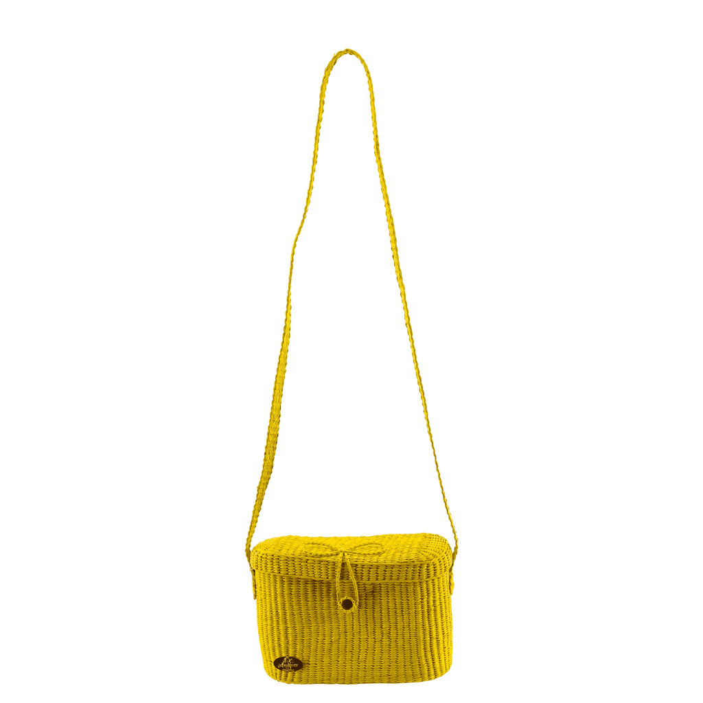 Camera Straw Bag in Yellow - Josephine Alexander Collective