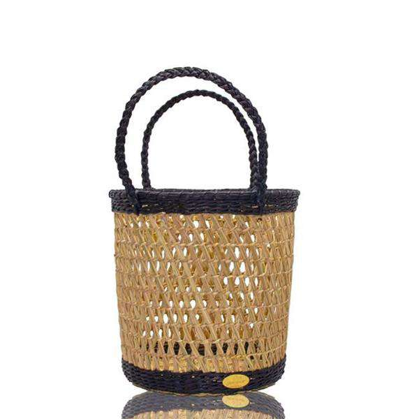 Canasta Straw Bucket in Deep Navy - Josephine Alexander Collective