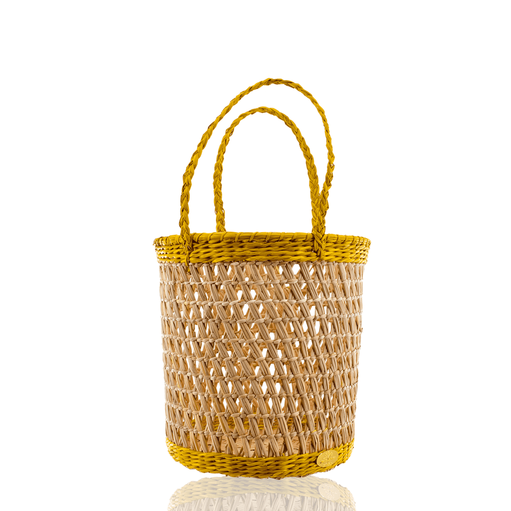 Canasta Straw Bucket in Pineapple - Josephine Alexander Collective