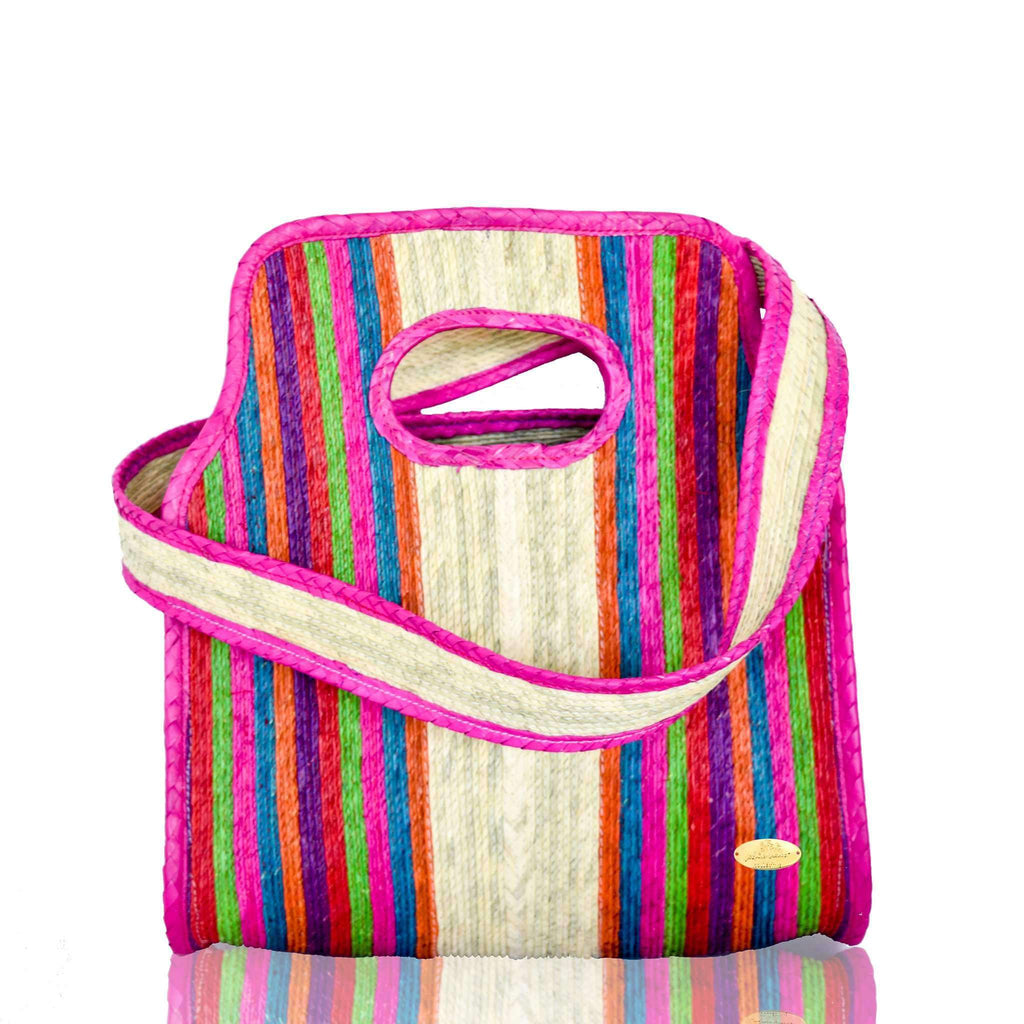 Cancun Straw Crossbody in Pink Hibiscus
