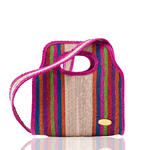 Cancun Straw Crossbody in Pink Hibiscus - Small
