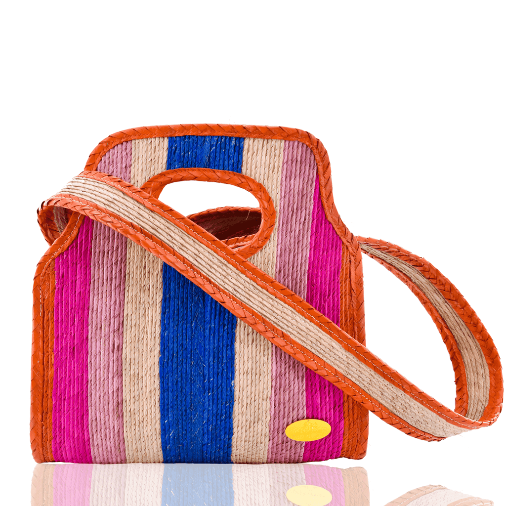 Cancun Straw Crossbody in Sunrise - Small