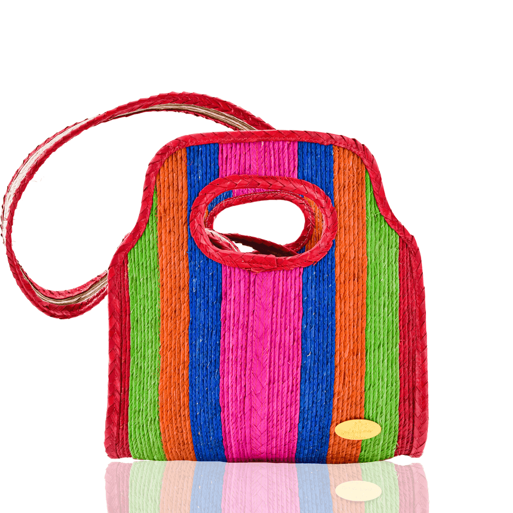 Cancun Straw Crossbody in Jolly Rancher - Small