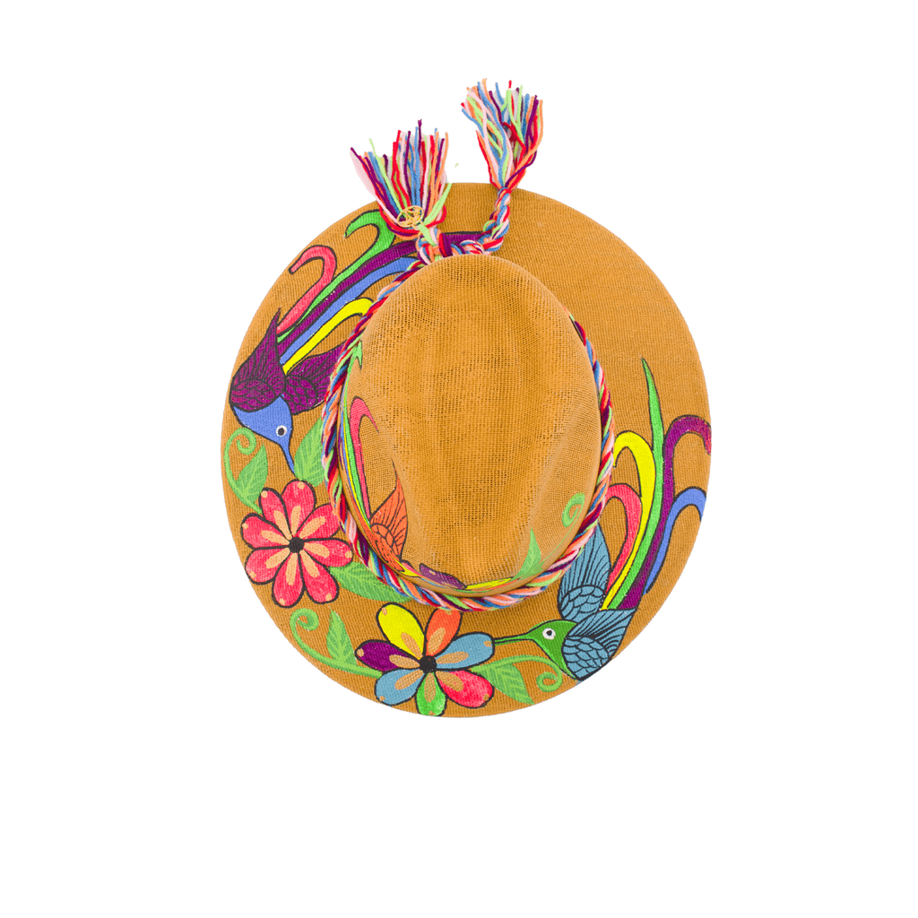 Carmen Hand-painted Hat - Camel Rainbow Flowers - Josephine Alexander Collective