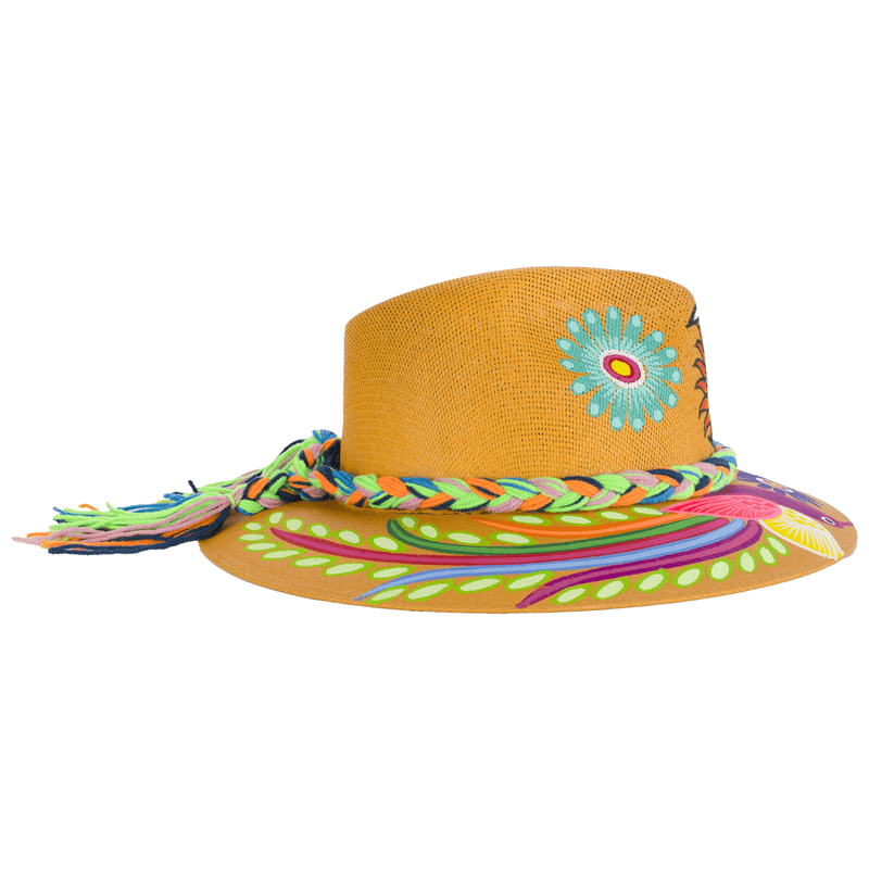 Carmen Hand-painted Hat - Camel Sun/moon - Josephine Alexander Collective