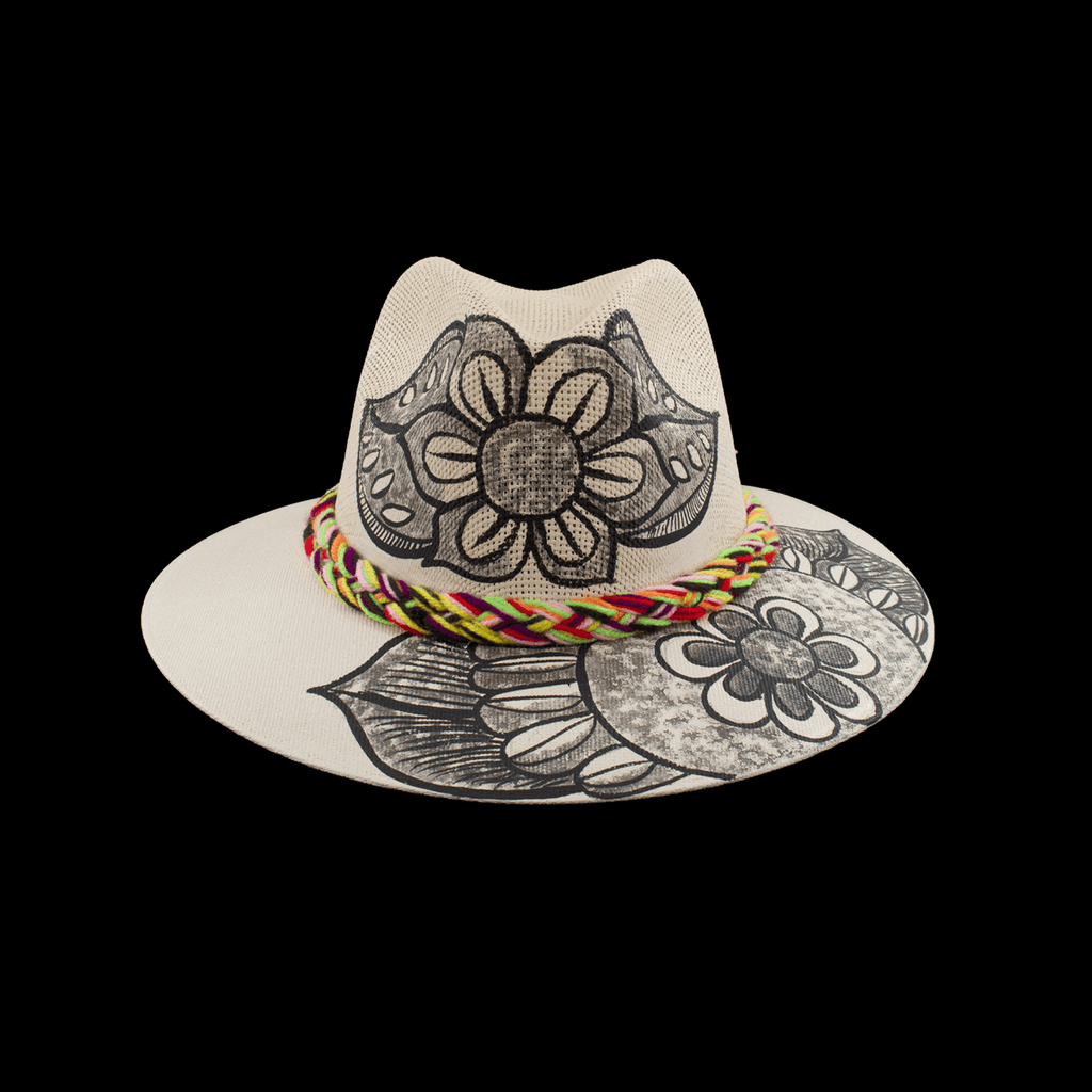 Carmen Hand-painted Hat - Ivory Black Flowers - Josephine Alexander Collective